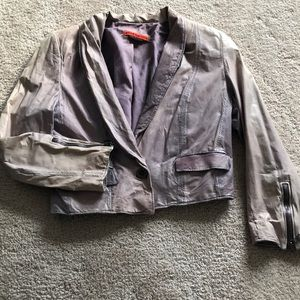 Alice and Olivia distressed leather jacket